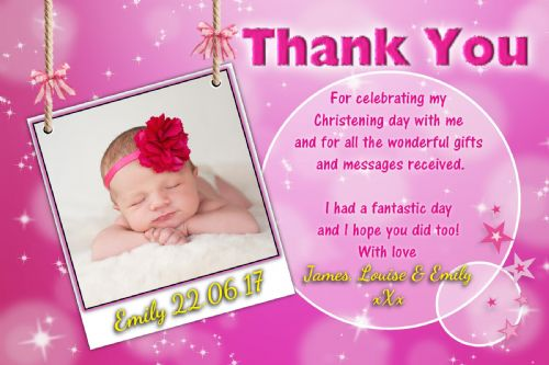 10 Personalised Girls Pink Sparkle Christening Baptism Thankyou PHOTO Cards N233